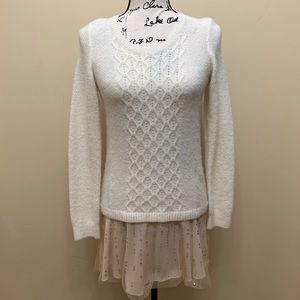 Anthro Knitted &Knotted Knit Chiffon Trim Sweater